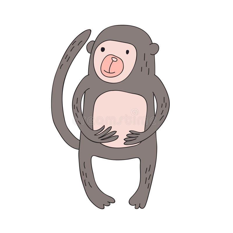 El carácter lindo del mono de la historieta, vector aisló el ejemplo en estilo simple libre illustration