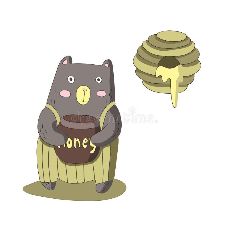 El carácter lindo del oso de la historieta con el barril de miel y la abeja jerarquizan, vector el ejemplo aislado en estilo simp stock de ilustración
