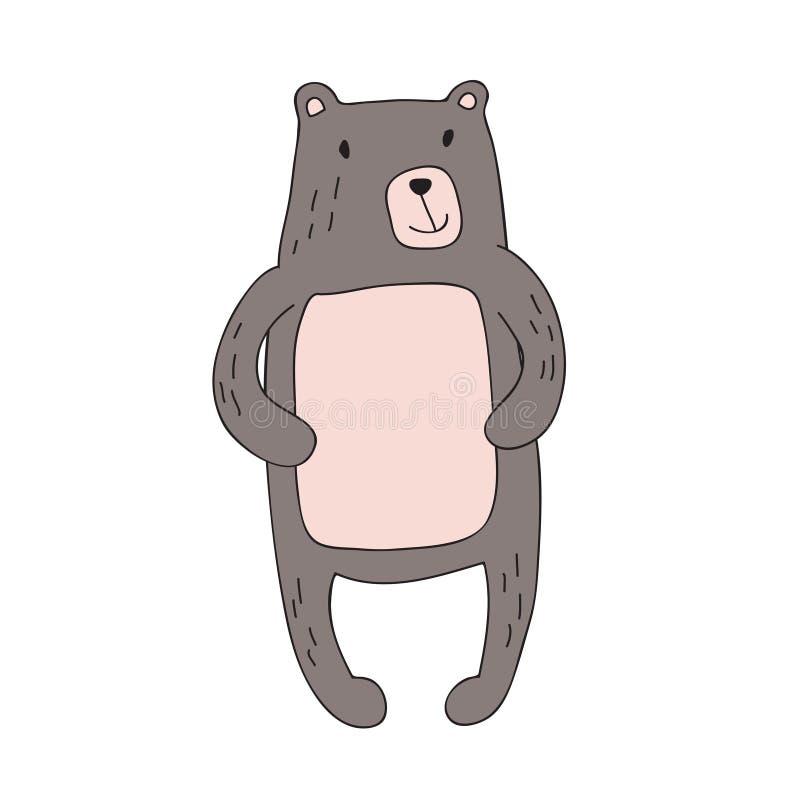 El carácter lindo del oso de la historieta, vector aisló el ejemplo en estilo simple stock de ilustración