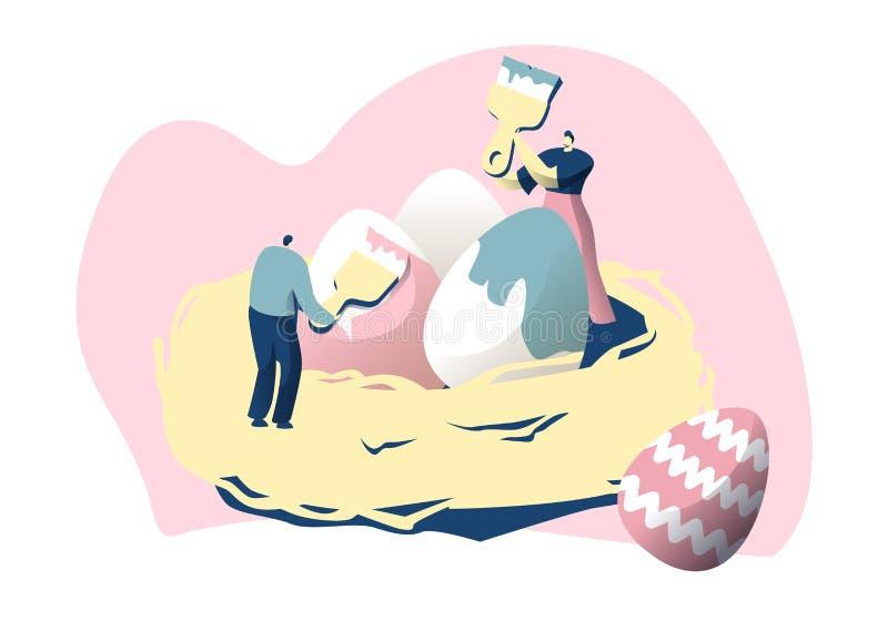 El carácter masculino en jerarquía adorna el huevo con el cartel colorido feliz de Pascua de la brocha Concepto religioso tradici libre illustration