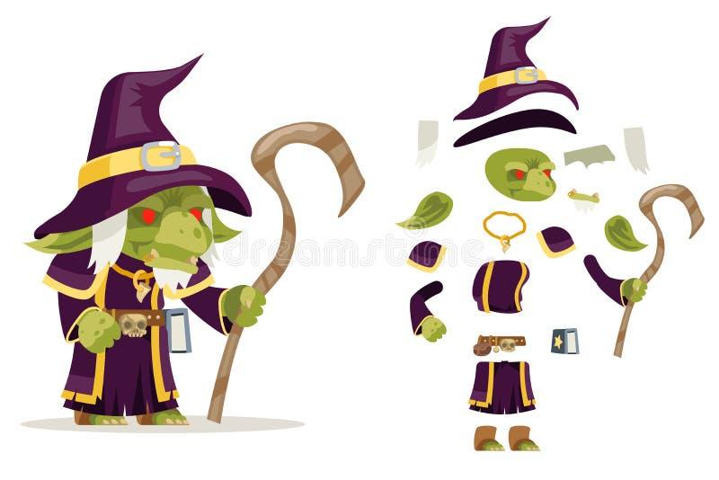 El carácter medieval del juego del RPG de la acción del duende del mage del hechicero del brujo del wiseman del subordinado de la libre illustration