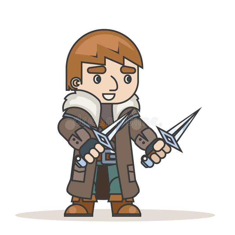 El carácter medieval proscrito del juego del RPG de la acción de la fantasía del asaltante del ladrón del ladrón del asesino aisl stock de ilustración