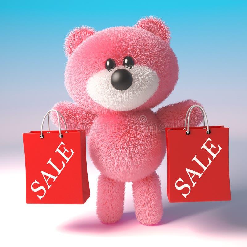 El carácter mullido del oso de peluche del rosa del cazador de negocio tiene dos bolsos de compras de la venta, ejemplo 3d libre illustration