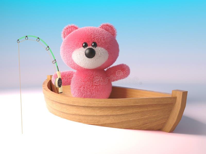El carácter mullido rosado mimoso del oso de peluche está pescando de un barco del bote, ejemplo 3d ilustración del vector