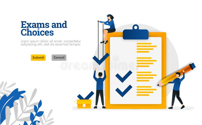 El carácter plano de los exámenes y de las opciones para el concepto del aprendizaje y del ejemplo del vector de los consultores  stock de ilustración