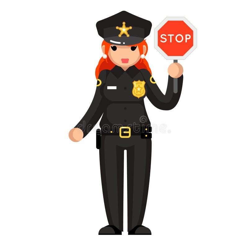 El carácter plano del diseño del oficial de policía de la parada de la muestra del policía de la mujer de la ley de la justicia d libre illustration