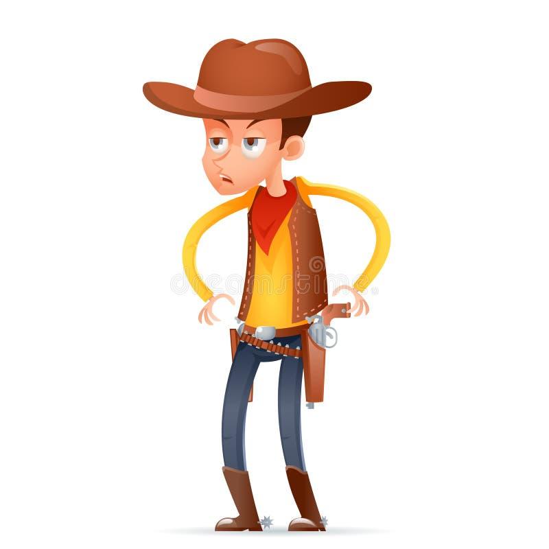 El carácter retro americano del oeste salvaje del diseño de la historieta del pistolero del vaquero aisló el ejemplo del vector d ilustración del vector