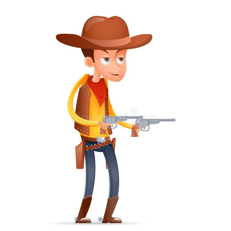El carácter retro americano del oeste salvaje del diseño de la historieta del vaquero del pistolero aisló el ejemplo del vector d stock de ilustración
