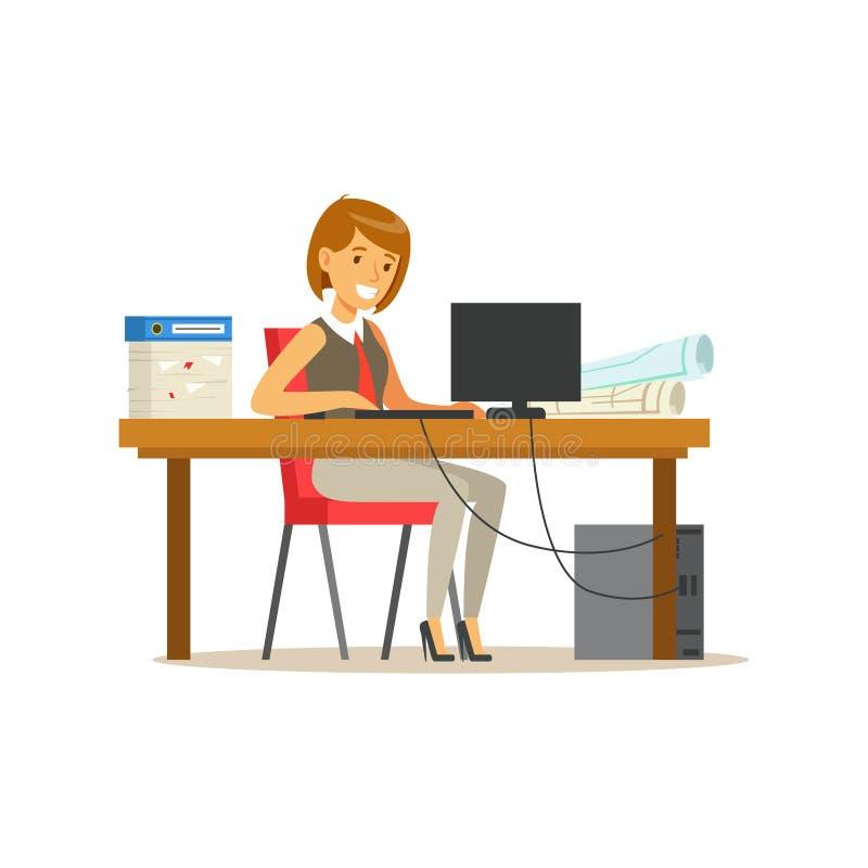 El carácter sonriente de la empresaria en un traje que trabaja en un ordenador portátil en su escritorio de oficina vector el eje ilustración del vector