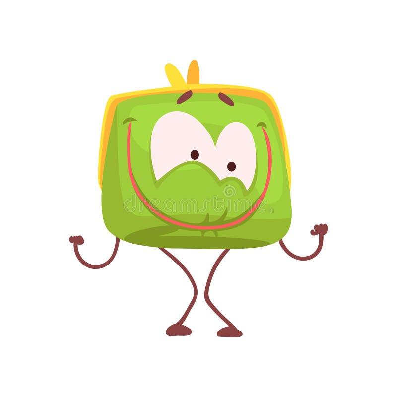 El carácter sonriente feliz lindo del monedero, verde divertido humanizó el ejemplo del vector de la historieta de la bolsa libre illustration