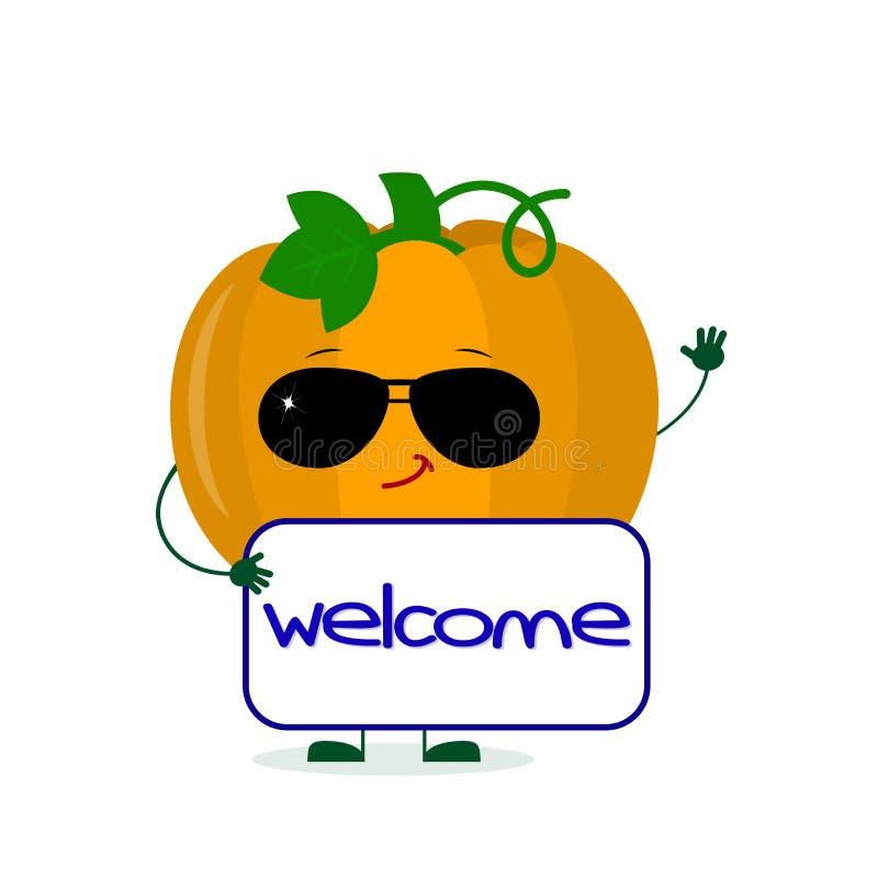 El carácter vegetal de la calabaza linda de Kawaii en gafas de sol guarda la recepción del letrero Logotipo, plantilla, dise?o Ve ilustración del vector