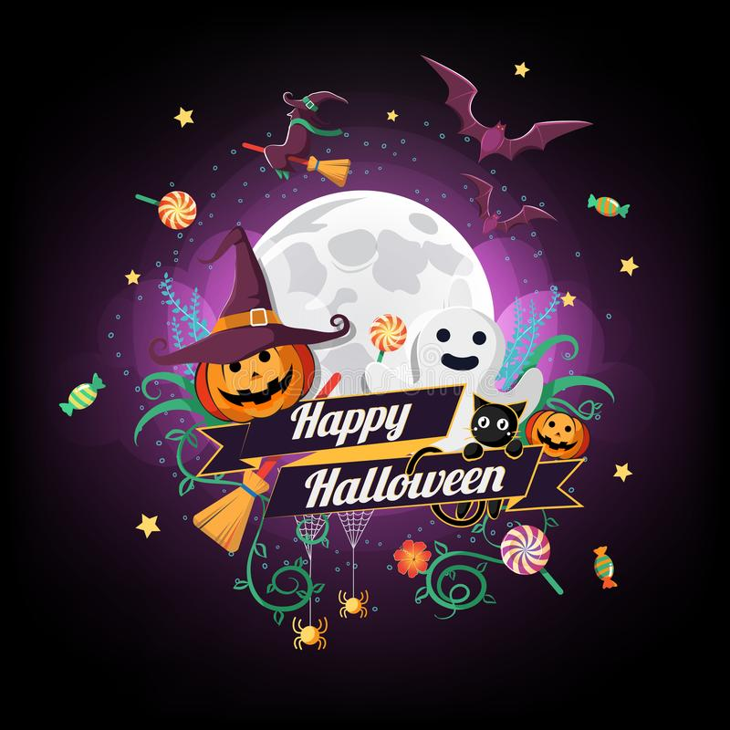 El carácter y el elemento de Halloween diseñan la insignia en fondo de la Luna Llena, truco o el concepto de la invitación, ejemp stock de ilustración