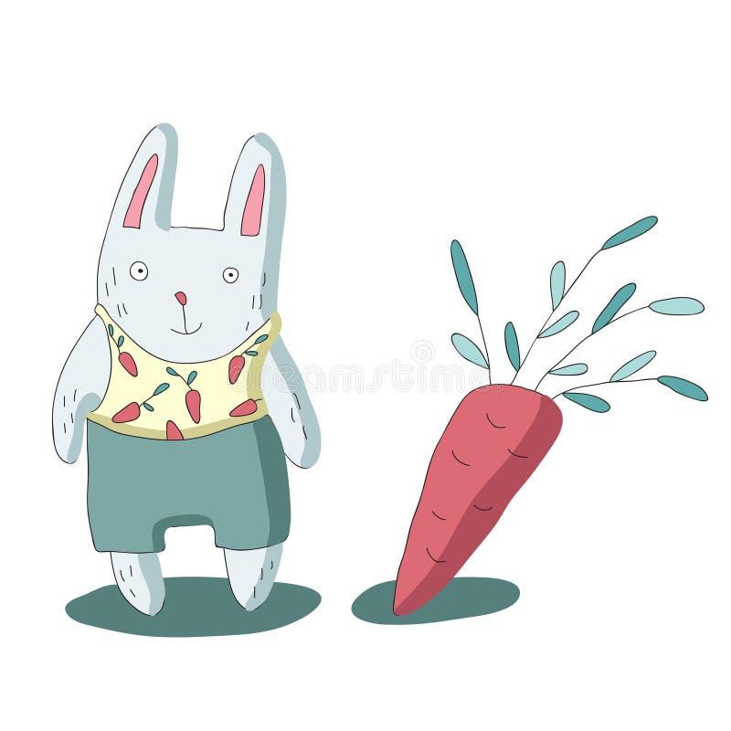 El carácter y las zanahorias lindos, vector del conejo de la historieta aislaron el ejemplo en estilo simple ilustración del vector