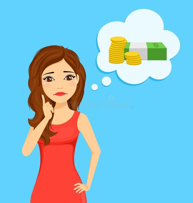 El car?cter de la muchacha Problema financiero Retrato de una chica joven con una mirada triste Burbuja del discurso stock de ilustración