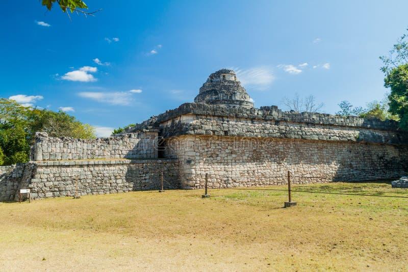 El Caracol, обсерватория в старом майяском городе Chichen Itza, Mexi стоковая фотография