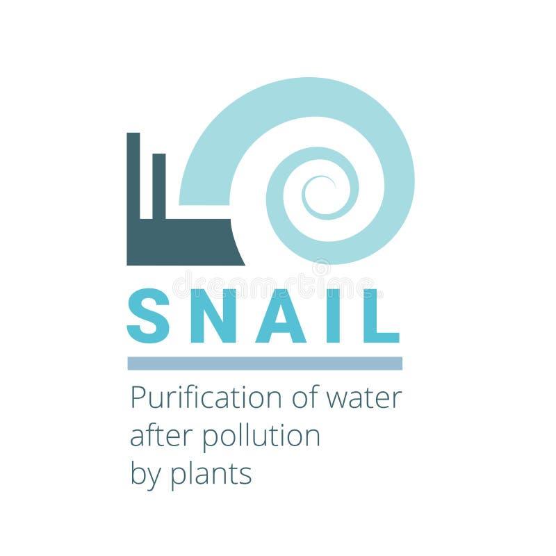 El caracol es un símbolo plano creativo del logotipo conveniente para la organización industrial Agua inusual y hermosa de la mue fotografía de archivo libre de regalías
