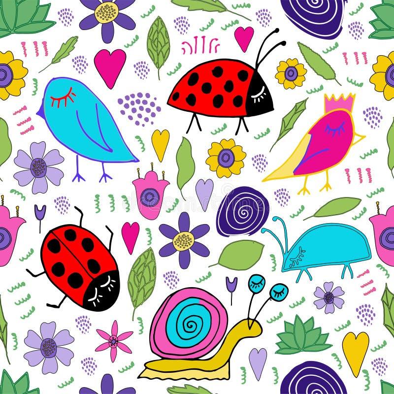 El caracol exhausto de la mano, pájaro, insecto, mariquita, flores, hojas garabatea Modelo inconsútil La impresión para los niños ilustración del vector
