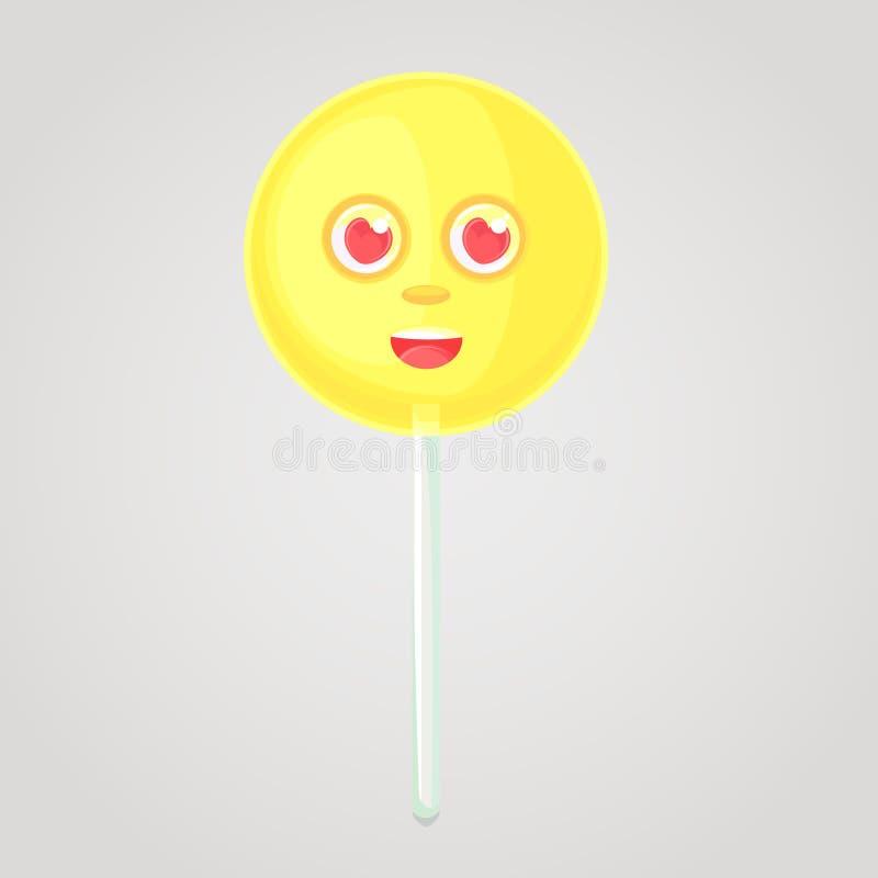 El caramelo amarillo es un icono emocional ilustración del vector