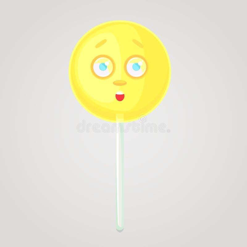 El caramelo amarillo es un icono emocional, voluminoso con una cara, en un palillo ilustración del vector
