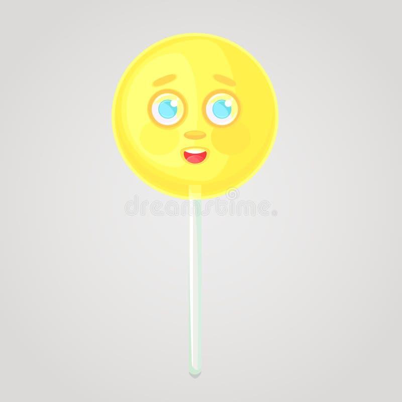 El caramelo amarillo es un icono emocional, voluminoso con una cara, en un palillo stock de ilustración