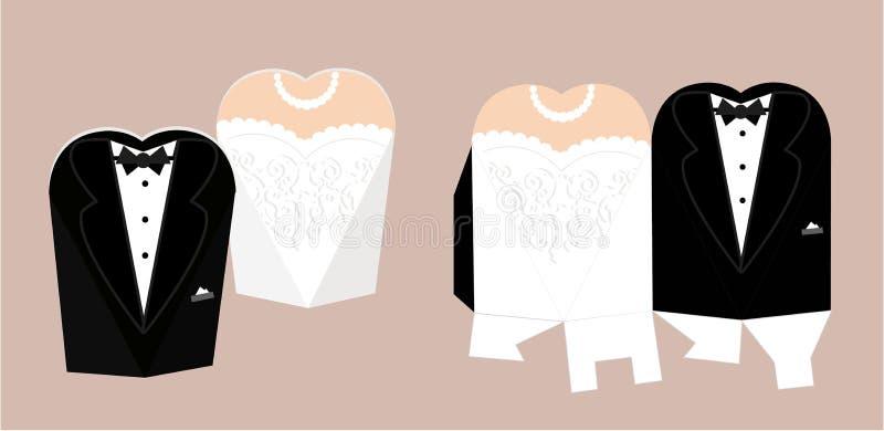 El caramelo de novia y del novio muere caja Plantilla diy de la caja del vector Smoking y vestido nupcial para casarse stock de ilustración