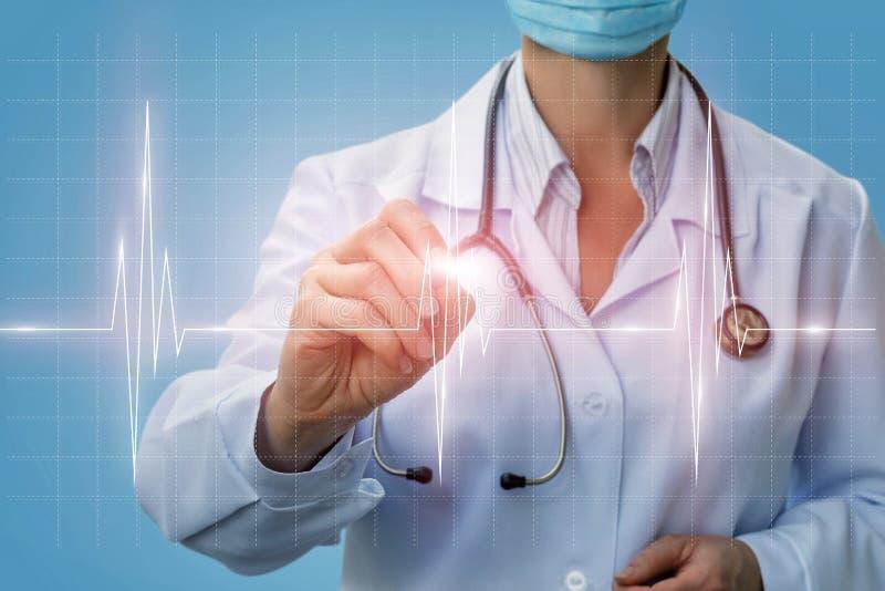 El cardiólogo del doctor diagnostica el corazón del diagrama foto de archivo