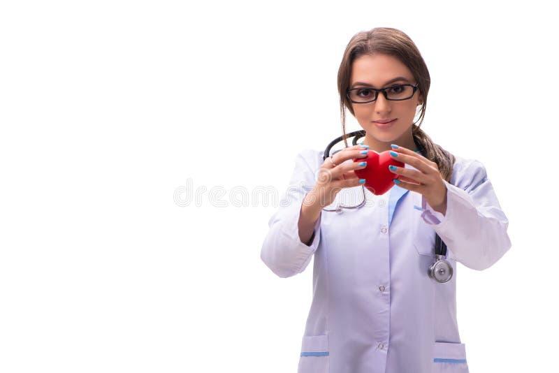 El cardi?logo de sexo femenino joven del doctor aislado en blanco fotos de archivo libres de regalías