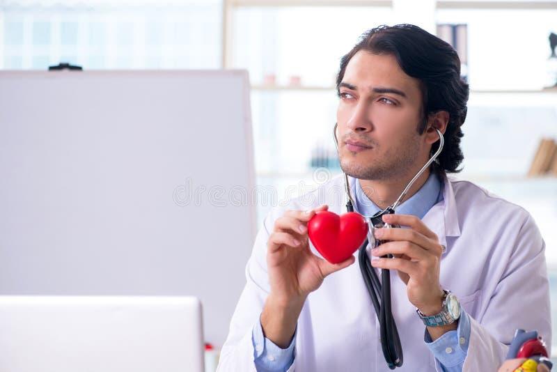 El cardi?logo hermoso joven del doctor delante del whiteboard fotografía de archivo libre de regalías