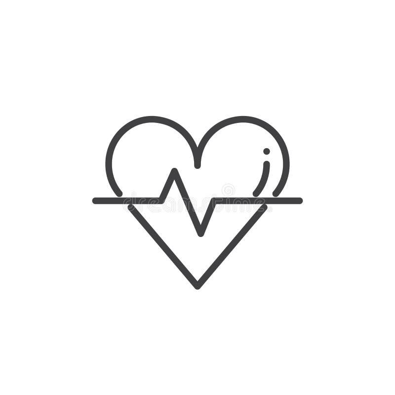 El cardiograma con el corazón y el pulso remontan vector del icono stock de ilustración