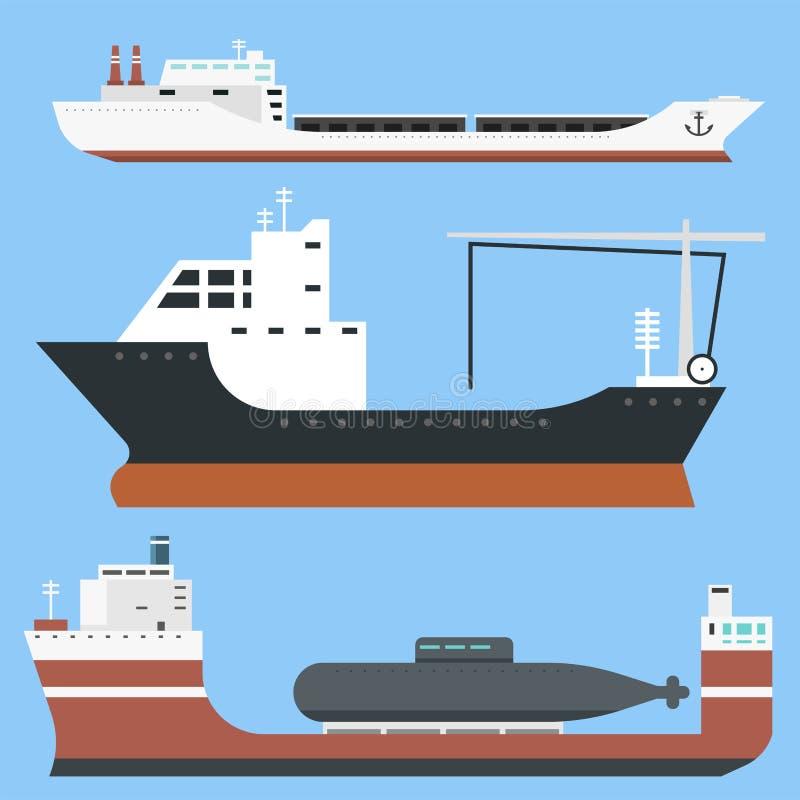 El carguero de graneles de la entrega de los buques de carga y del envío de petroleros entrena a los petroleros del barco de la c ilustración del vector