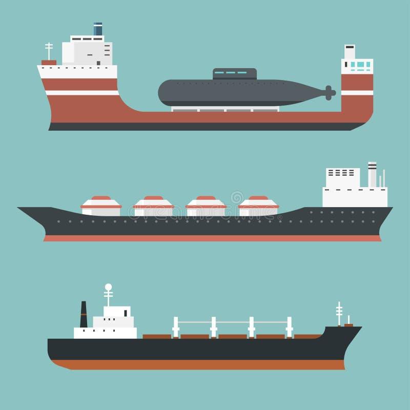 El carguero de graneles de la entrega de los buques de carga y del envío de petroleros entrena a petroleros del barco de la carga stock de ilustración