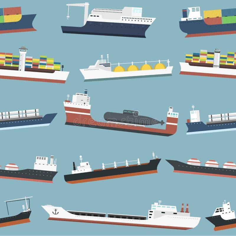 El carguero de graneles de la entrega de los buques de carga y del envío de petroleros fleta el ejemplo inconsútil del vector del libre illustration