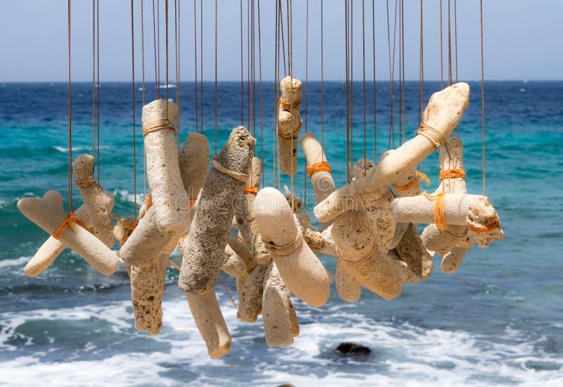 El carillón de viento coralino de la orilla de mar fotos de archivo libres de regalías