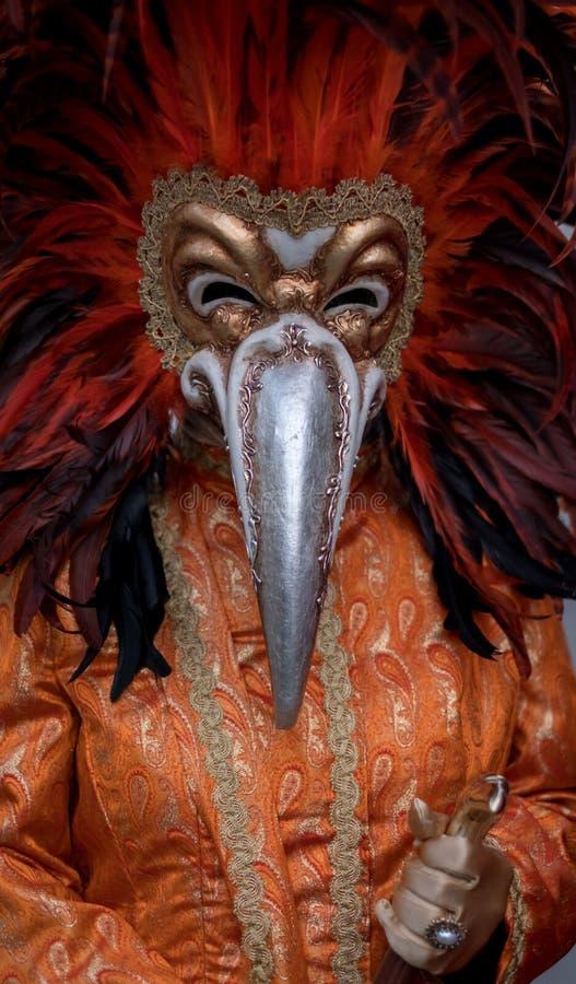 El carnaval-asistente vestido con rojo emplumó la máscara que se colocaba en cuadrado del ` s de St Mark durante los di Venezia d fotos de archivo libres de regalías