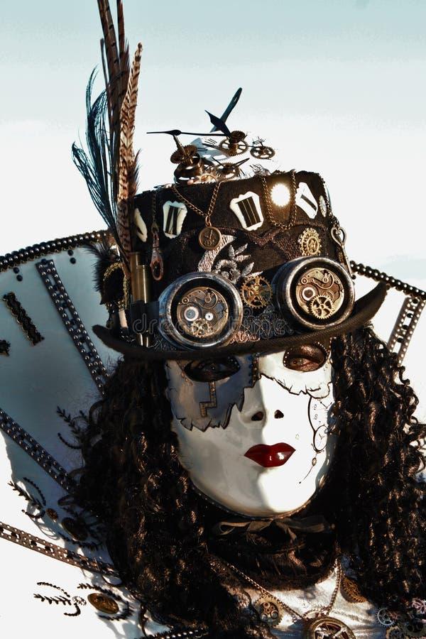 El carnaval de Venecia, retrato de una máscara, durante el carnaval veneciano en la ciudad entera allí es máscaras maravillosas fotografía de archivo libre de regalías