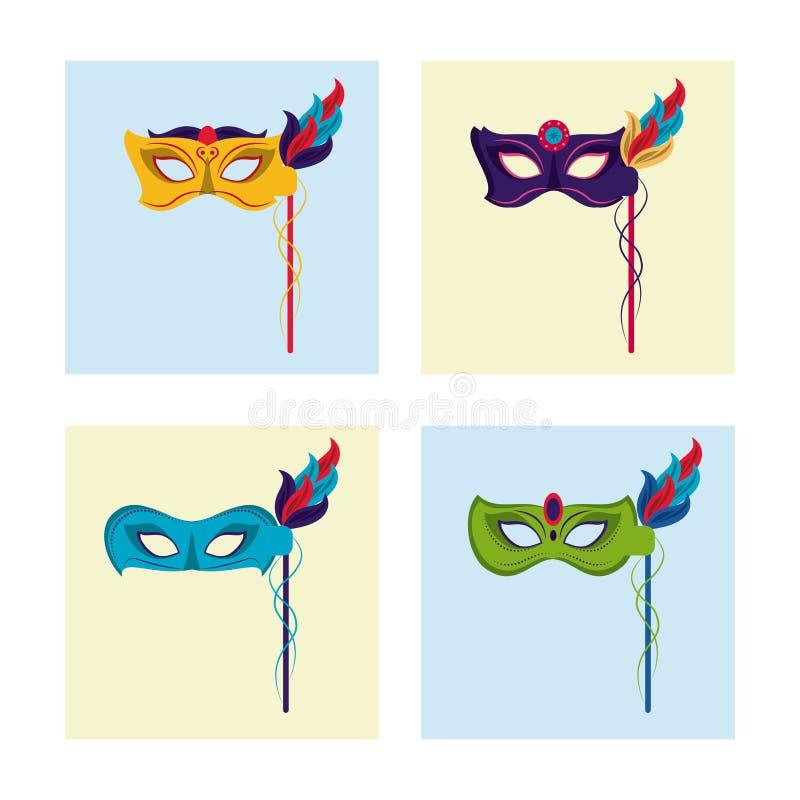 El carnaval enmascara iconos stock de ilustración