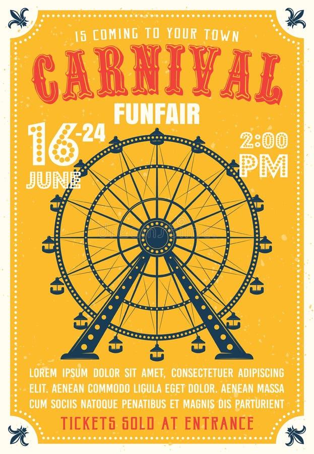 El carnaval, funfair coloreó el cartel en estilo plano stock de ilustración