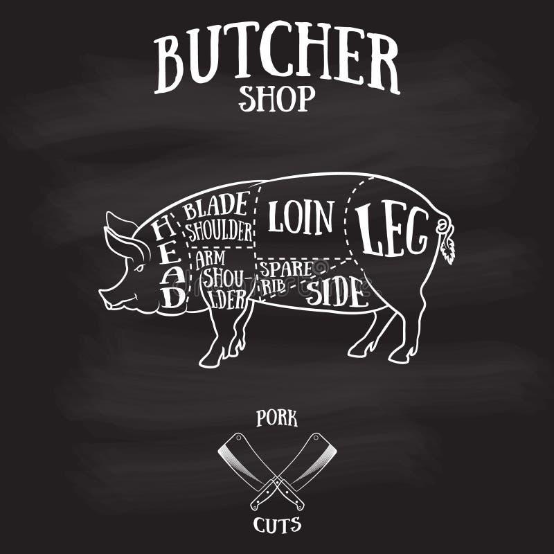 El carnicero corta el esquema del cerdo stock de ilustración