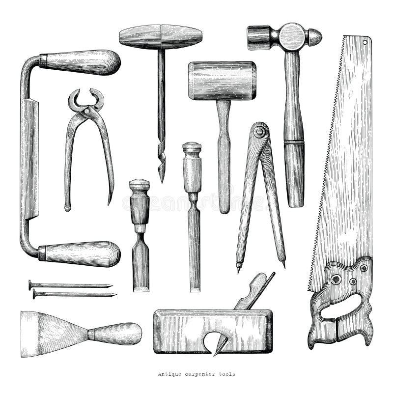 El carpintero antiguo equipa estilo del vintage del dibujo de la mano en la parte posterior del blanco libre illustration
