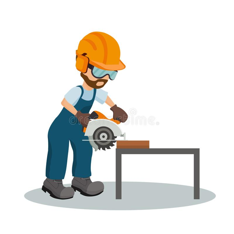 El carpintero de sexo masculino que cortaba un tablón de madera con la circular vio con el equipo de la seguridad en el trabajo I ilustración del vector