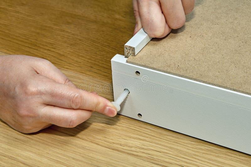 El carpintero utiliza el perno de pasador plástico blanco del montaje de los muebles, cierre fotos de archivo