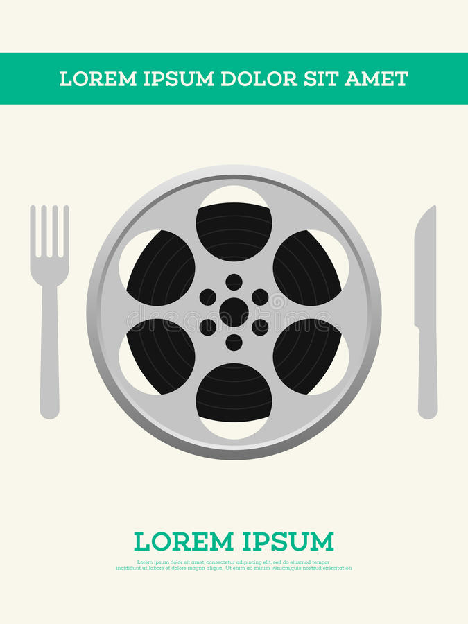 El carrete de la película de cine y el cartel del vintage de la tira de película vector el ejemplo ilustración del vector