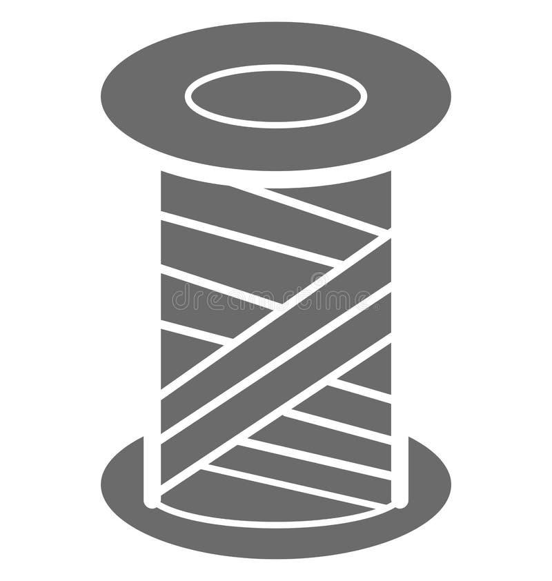 El carrete vacío, hilo aisló el icono del vector para coser y adaptar ilustración del vector