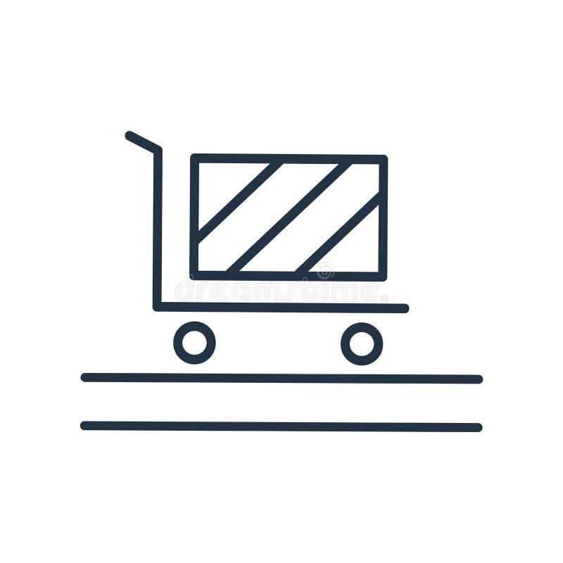 El carro con vector del icono de las cajas aislado en el fondo blanco, carro con las cajas firma ilustración del vector