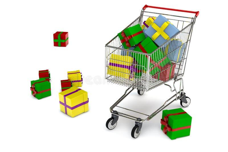El carro de compras con muchos presenta stock de ilustración