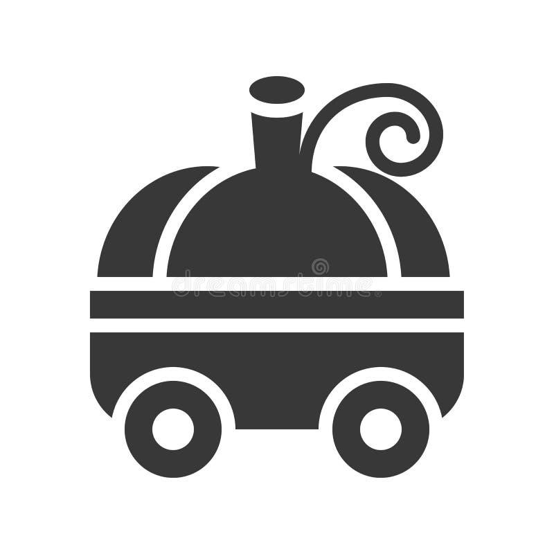 El carro de la calabaza, Halloween se relacionó, diseño del icono del glyph libre illustration