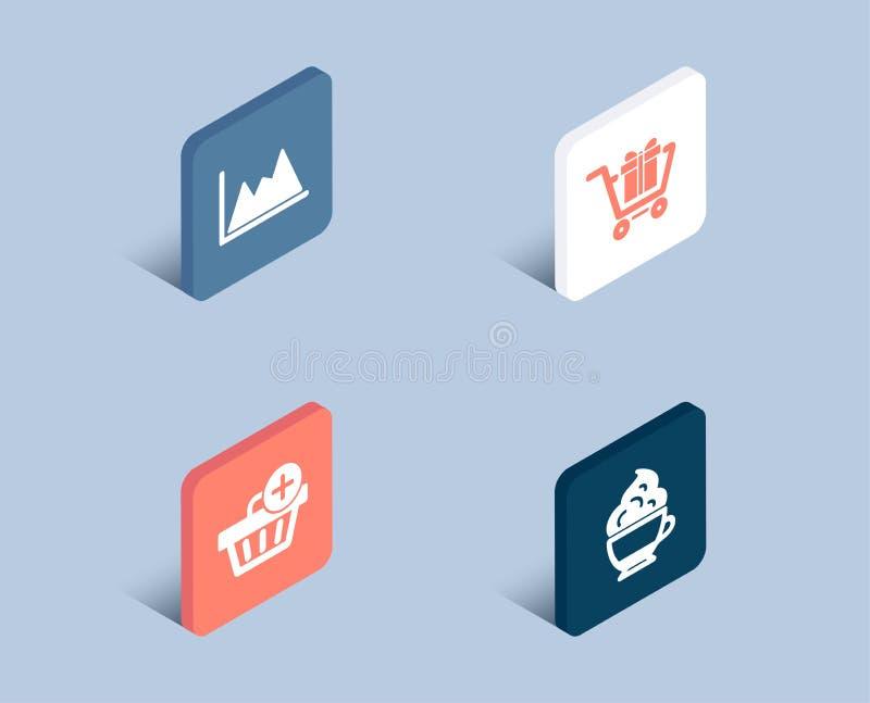 El carro de la compra, añade la compra e iconos del diagrama Muestra poner crema del capuchino Caja de regalo, orden que hace com stock de ilustración