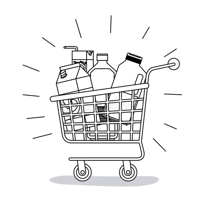 El carro de la compra con la comida compra la silueta monocromática libre illustration