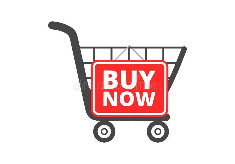 El carro de la compra con la compra ahora firma, abotona, icono stock de ilustración
