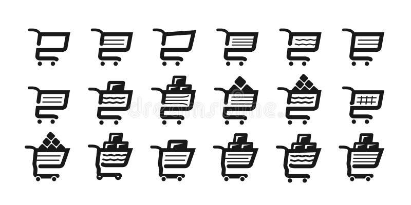 El carro de la compra, fijó iconos Supermercado, colmado, símbolo de la carretilla de mano o logotipo Ilustración del vector libre illustration